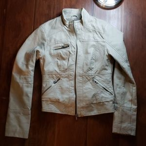 Motorcycle Style Jacket Cream Color Size Small